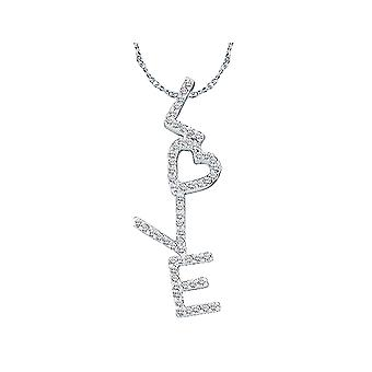 1/5 Carat (ctw J-K, I2-I3) Heart Diamond LOVE Pendant Necklace in 14K White Gold with Chain