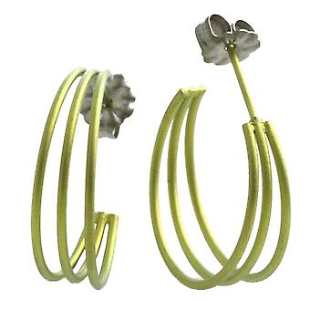 Ti2 Titanium Three Strand Hoop Earrings - Lemon Yellow