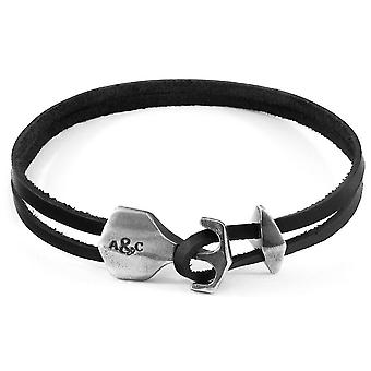 Anchor and Crew Delta Anchor Silver and Flat Leather Bracelet - Coal Black