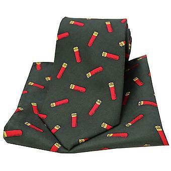 Cartuchos de espingarda de David Van Hagen amarram e bolso quadrado kit - verde escuro
