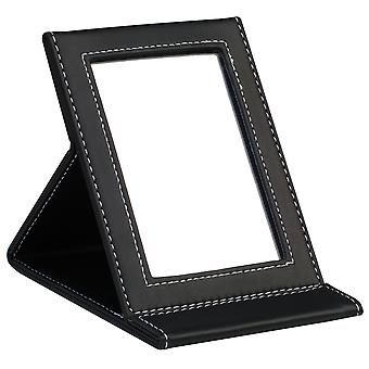 TRIXES Black Faux Leather Folding Mirror