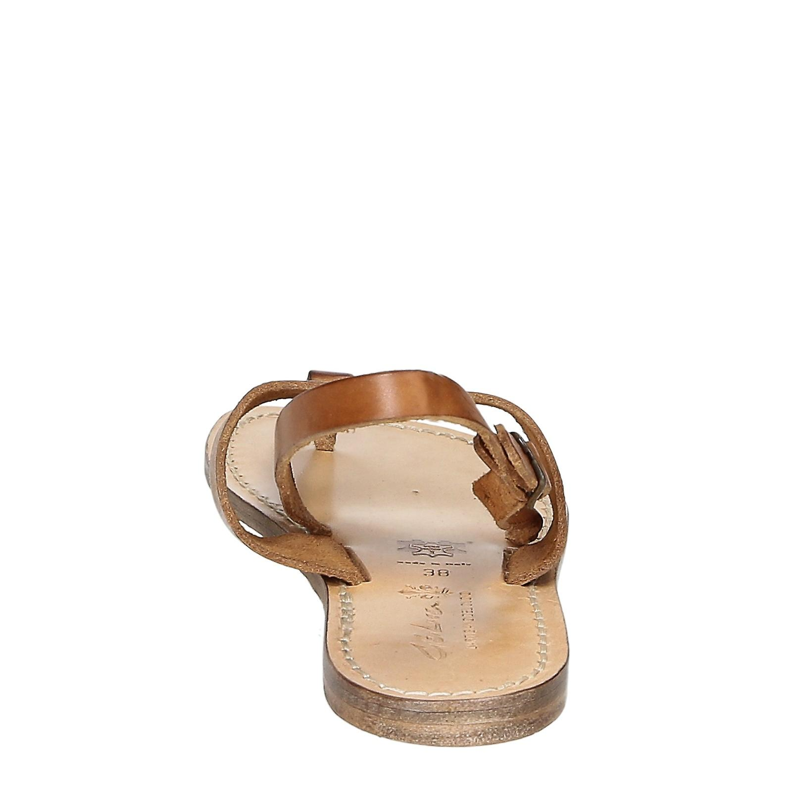 T-strap Sandals For Women In Tan Leather