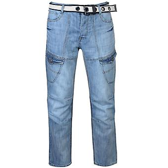 Ingen frygt Herre bælte Cargo Jeans Multi Pocket knap Zip Fastgør Comfort Casual