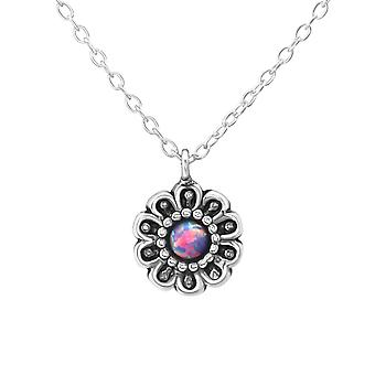Kukka - 925 Sterling hopea Jewelled kaulakorut - W37064x