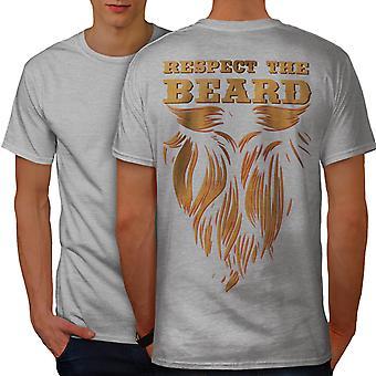 Respetar barba Hippie GreyT-camisa de los hombres hacia atrás | Wellcoda