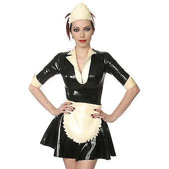 Skin Two Clothing Women's Naughty Maids Dress Costume Outfit in Rubber Latex