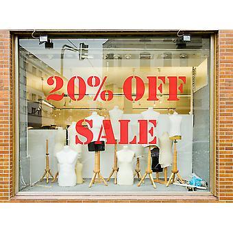 20 ٪ من متجر بيع الفينيل نافذة الجدار ملصقا