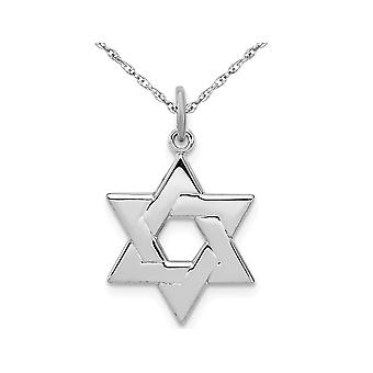 Star of David Pendant Necklace in Rhoduim Plated Sterling Silver with Chain
