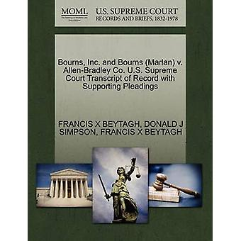 Bourns Inc. e Bourns Marlan v. trascrizione AllenBradley Co. US Supreme Court del Record con il supporto di memorie da BEYTAGH & FRANCIS X