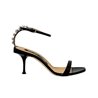 Sergio Rossi A84610black Women's Black Leather Sandals