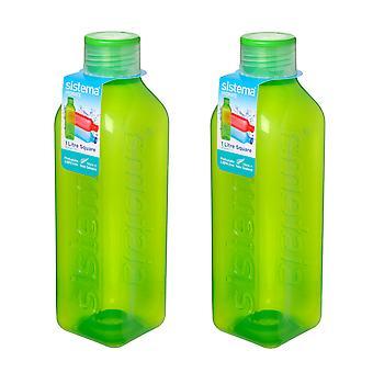 Sistema Set of 2 Square Bottles 1L, Green
