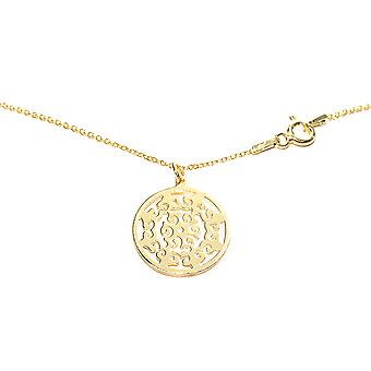Ah! Jewellery 24K Gold Vermeil Over Sterling Silver Open Work Circle Necklace, Stamped 925.
