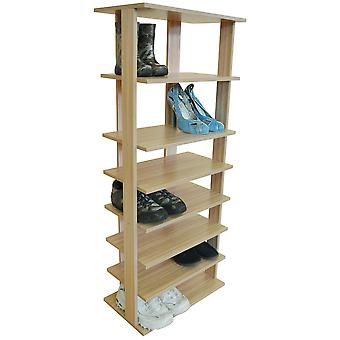 Stacked - 7 Tier Free Standing Shoe And Boot Storage Shelf - Light Oak