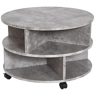 HOMCOM 2 Tier Round Side End Table Coffee Desk with Divided Shelves Tea Table Storage Unit Living Room Organiser with Wheels - Cement colour