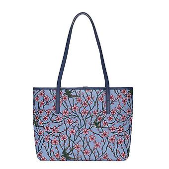 Almond blossom and swallow shoulder tote bag by signare tapestry / coll-blos