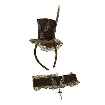 Brown Steampunk Key and Wings Mini Top Hat Headband and Choker Adult Costume Set