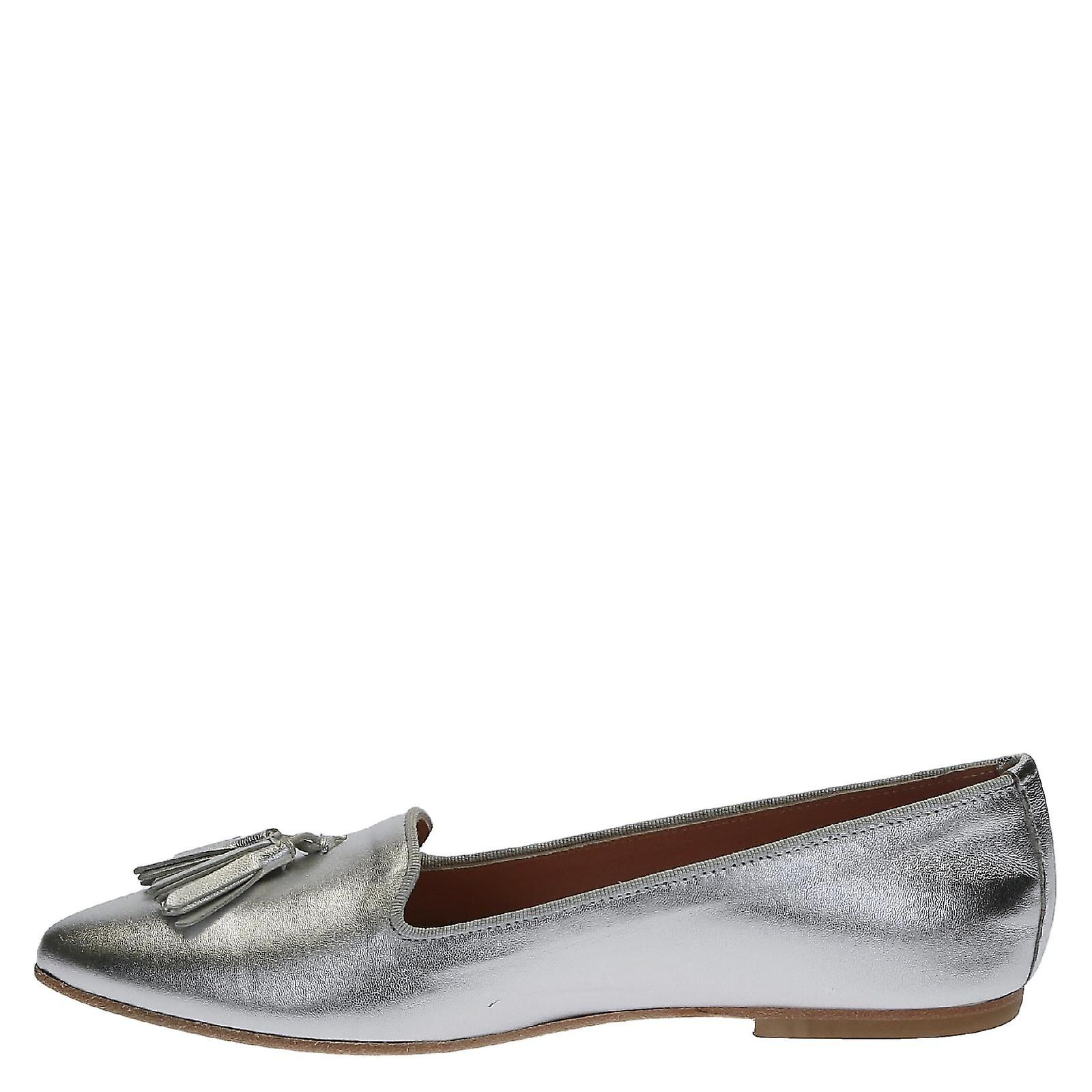 Leonardo Shoes 11720cuoionappaargento Women's Silver Leather Flats aUhywN