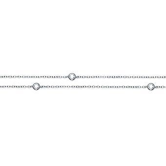 Rhodié sølv halskæde med cubic zirconia Serti Clos 45cm