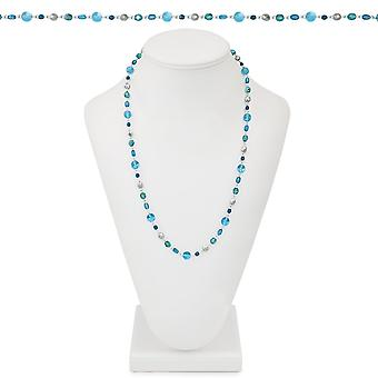 Eternal Collection Glacier Blue Multi Crystal 26 Inch Silver Tone Beaded Necklace