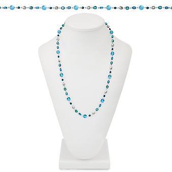 Ewige Sammlung Gletscher blau Multi Kristall 26 Zoll Silber Ton Perlenkette