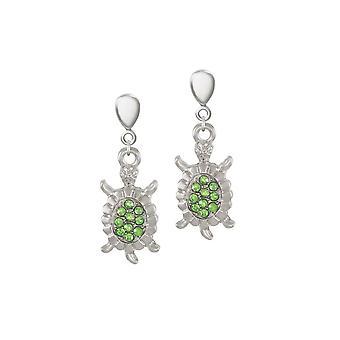 Éternelle Collection Myrtle la tortue vert cristal Silver Tone chute Clip boucles d'oreilles