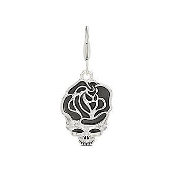 Grateful Dead Rose Skull Charm w 14k białe złoto