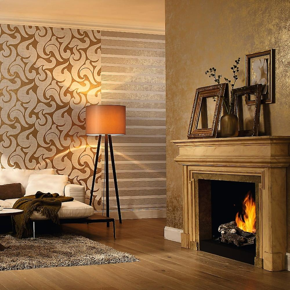 Rae Scroll Damask Pattern Wallpaper