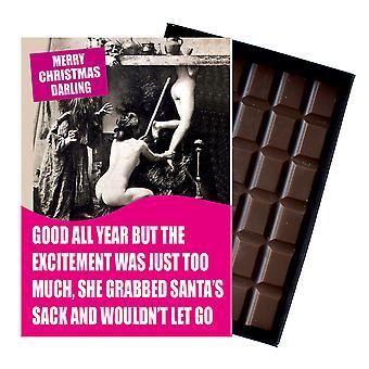 女性の友人愚かな箱入りチョコレートグリーティングカードプレゼントCDL135のための面白いクリスマスプレゼント