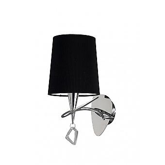 Mantra Mara Wall Lamp Switched 1 Light E14, Polished Chrome With Black Shade