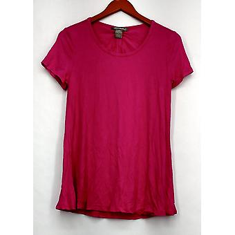 Kate & Mallory Top Short Sleeve Cut Out Tie Back & Hi Lo Bright Pink A432243