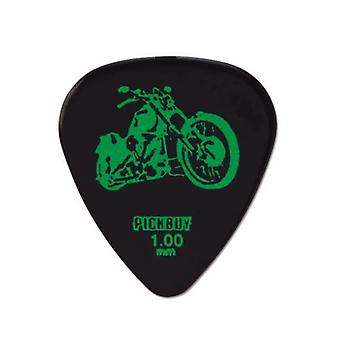 6 Pickboy Guitar Picks/Plectrums - Tattoo Harley Davidson - Black - Heavy 1.00mm