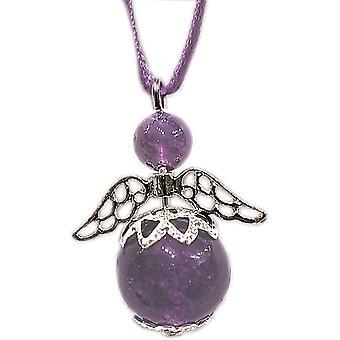Handmade Hanging Semi-precious Amethyst Gemstone Guardian Angel in Silver Plated by Nyleve Designs