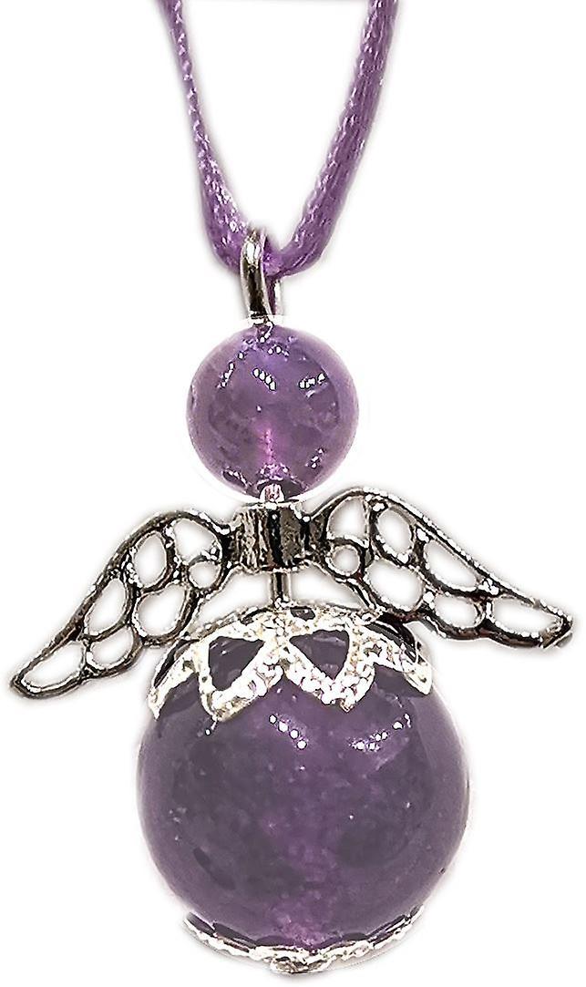 Nyleve Designs handmade Hanging Semi-precious Amethyst Gemstone Guardian Angel in Silver Plated