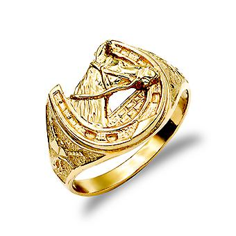 Jewelco London mænd ' s solid 9ct gul guld hest hoved hestesko ring