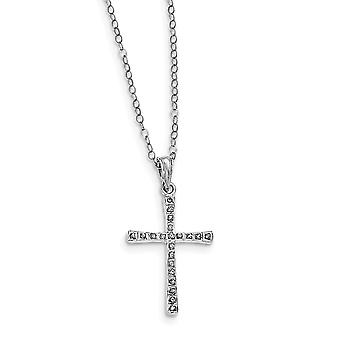 925 Sterling Silver Polished Gift Boxed Spring Ring Platinum plated Diamond Mystique 18inch Religious Faith Cross Neckla