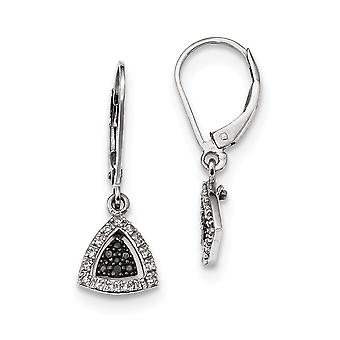 925 Sterling Silver Dangle Leverback Black and White Diamond Earrings Jewelry Gifts for Women
