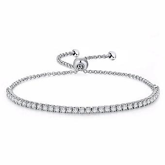 925 Sterling Silver Tennis Bracelet With 2 Mm Simulated Diamonds