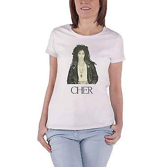 Cher T Shirt Leather Jacket Logo new Official Womens Skinny Fit White