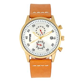 Raça Andreas couro-Band Watch w/Date-ouro/camelo
