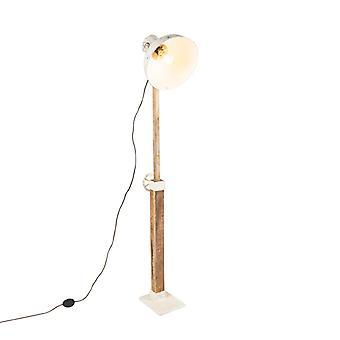 QAZQA candeeiro de pé industrial branco com manga madeira-mangas