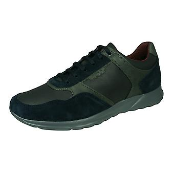 Geox U Damian A Mens Leather Trainers / Shoes - Navy