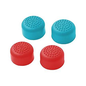Silicone dotted grip thumb stick extender caps for switch joy-con controllers - 4 pack red & blue
