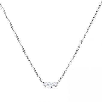 Diamonfire Silver White Zirconia Three Stones Necklace N4244