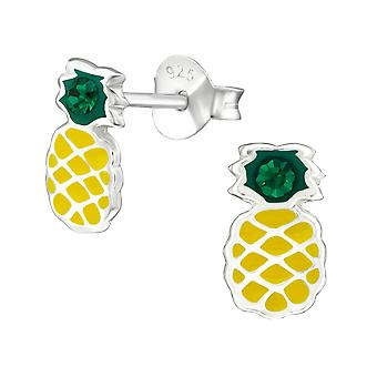 Pineapple - 925 Sterling Silver Crystal Ear Studs - W38676X