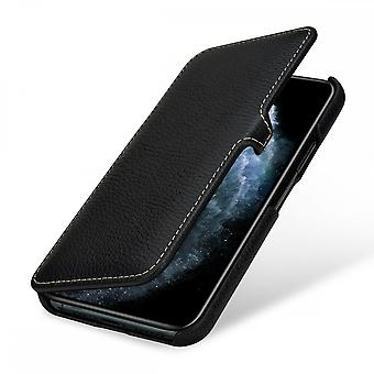 Case For iPhone 11 Pro Book Type Grained Black In True Leather