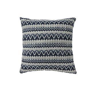 Contemporary Style Horizontally Zigzag Designed Set of 2 Throw Pillows, Navy Blue
