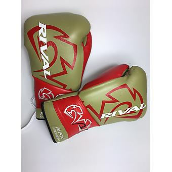 Rival rfx-guerrero lace up pro boxing gloves - matte gold red
