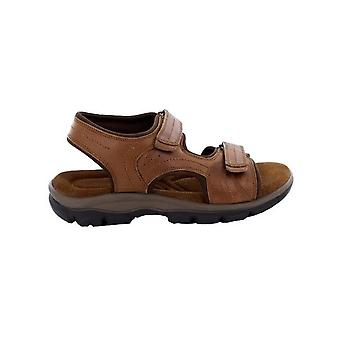 Roamers Mens Leather Twin Touch Fastening Sandal
