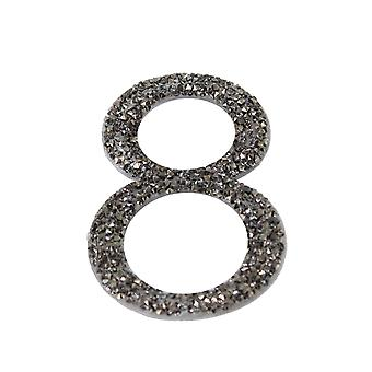 Gunmetal Glitter Number Sticker - Number 8