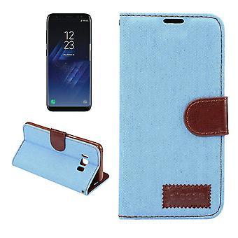 Para Samsung Galaxy S8 PLUS Funda de la cartera, cubierta de cuero de la textura de nim, azul del bebé
